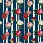 Csíkos színes rózsák design egyedi szublimált textil méteráruhoz