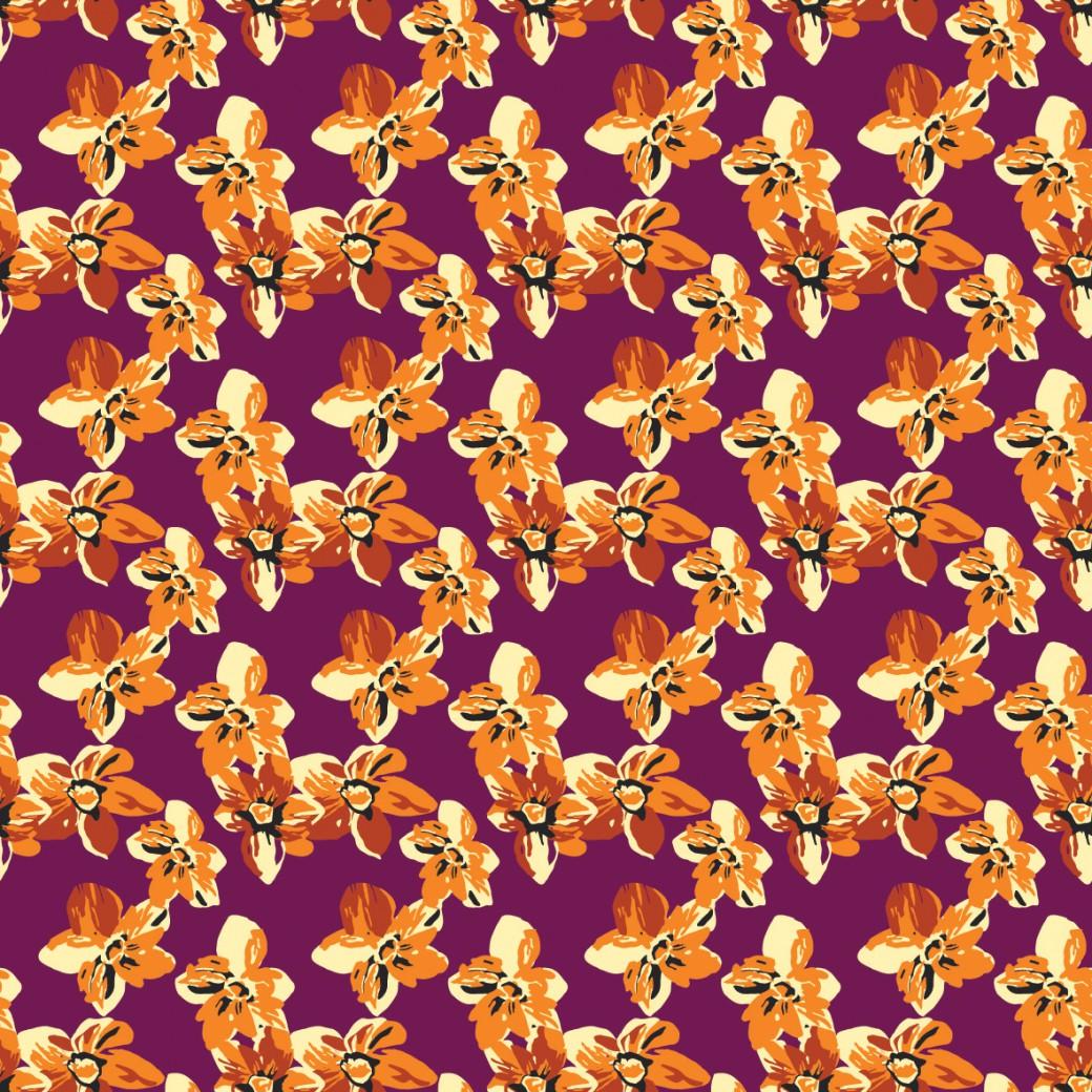 Narancs virágszőnyeg design egyedi szublimált textil méteráruhoz