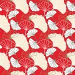 Ginkgo pirosban design egyedi szublimált textil méteráruhoz