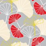 Ginkgo szürkén design egyedi szublimált textil méteráruhoz