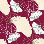 Bordó ginkgo design egyedi szublimált textil méteráruhoz