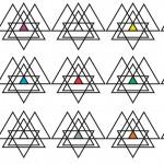 Absztrakt  háromszögek design egyedi szublimált textil méteráruhoz