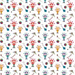 Színes bohócok fehér alapon design egyedi szublimált textil méteráruhoz