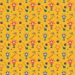 Színes bohócok sárga alapon design egyedi szublimált textil méteráruhoz