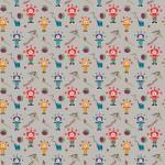 Színes bohócok szürke alapon design egyedi szublimált textil méteráruhoz