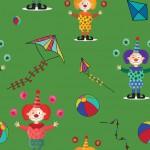 Színes bohócok zöld alapon design egyedi szublimált textil méteráruhoz