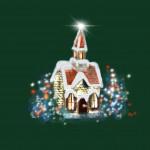 Karácsonyi templom zöld design egyedi szublimált textil méteráruhoz