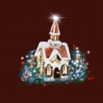 Karácsonyi templom bordó design egyedi szublimált textil méteráruhoz