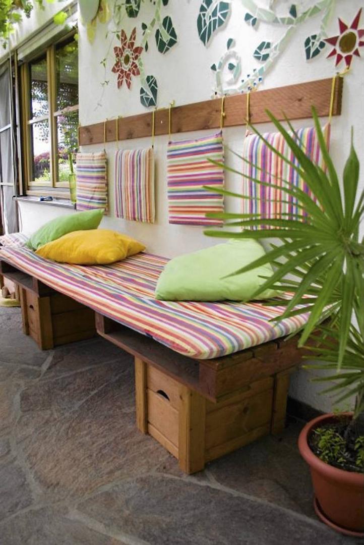 Siedziska ławy I Kanapy Z Odzysku Odpoczynek Na Balkonie