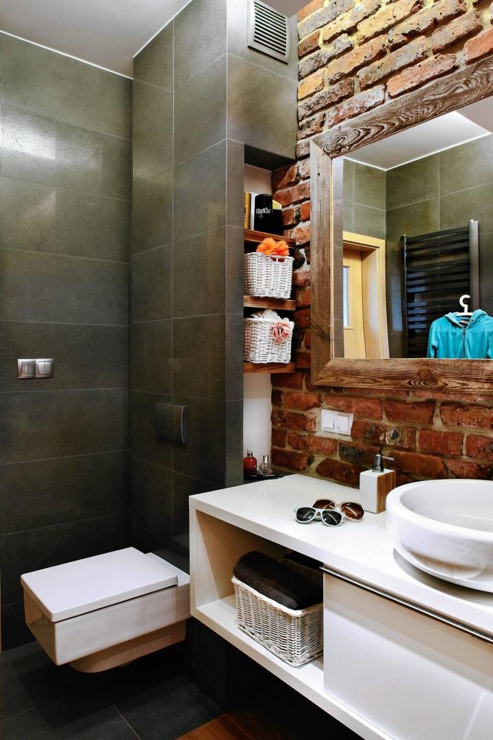łazienka Cegła I Drewno ładny Dom