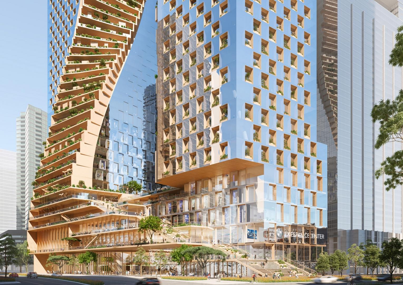 Skręcone Zielone Wieże W Melbourne Najwyższe Na