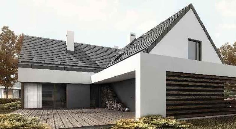 dom jednorodzinny, projekt, dwuspadowy dach, taras
