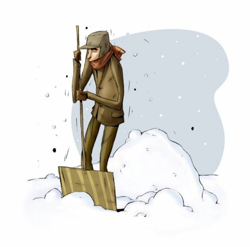 Odśnieżając ogród, unikamy zrzucania grubych warstw śniegu na trawnik, aby murawa pod nim nie gniła