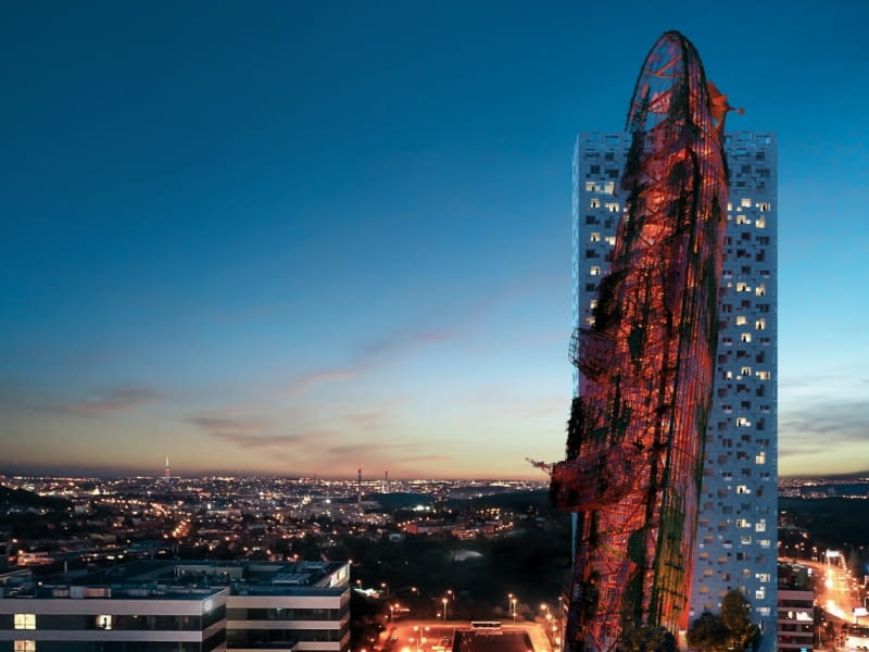 Top Tower w Pradze. Proj. Black n' Arch i David Černý