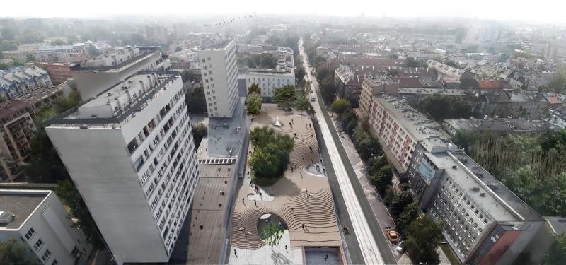 Koncepcja przebudowy Rynku Krowoderskiego w Krakowie; proj. Bartosz Dendura Pracownia Architektoniczna