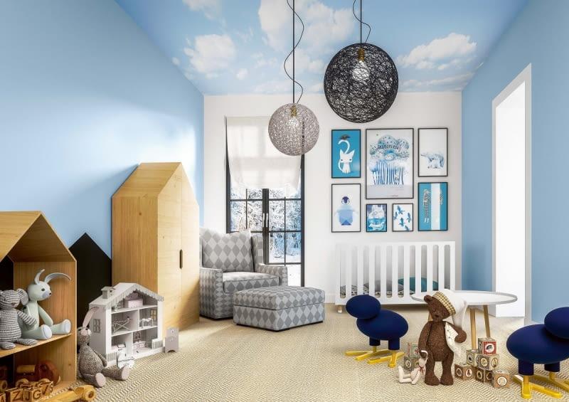 Farby do pokoi dziecięcych. Aby niebo na ścianie nie zasnuło się ciemnymi 'chmurami' od dziecięcych paluszków, warto zdecydować się na farbę odporną na szorowanie.
