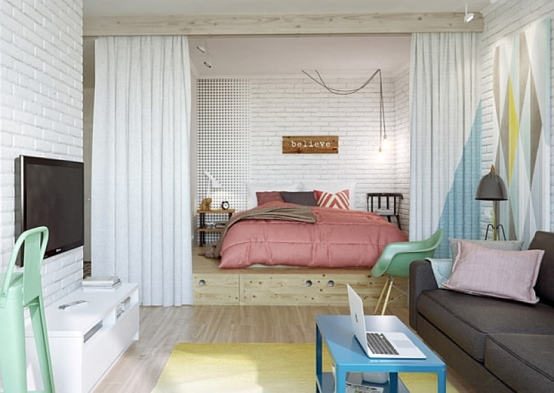 małe mieszkanie, oryginalne małe mieszkanie, jak urządzić małe mieszkanie, kolorowe mieszkanie, mieszkanie dla młodych