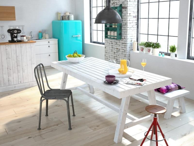 INDUSTRIALNE WNĘTRZE można ocieplić kolorowymi akcentami, zachowując jednocześnie jego loftowy charakter.