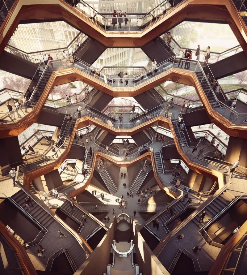Vessel. Proj. Thomas Heatherwick. Wnętrze.