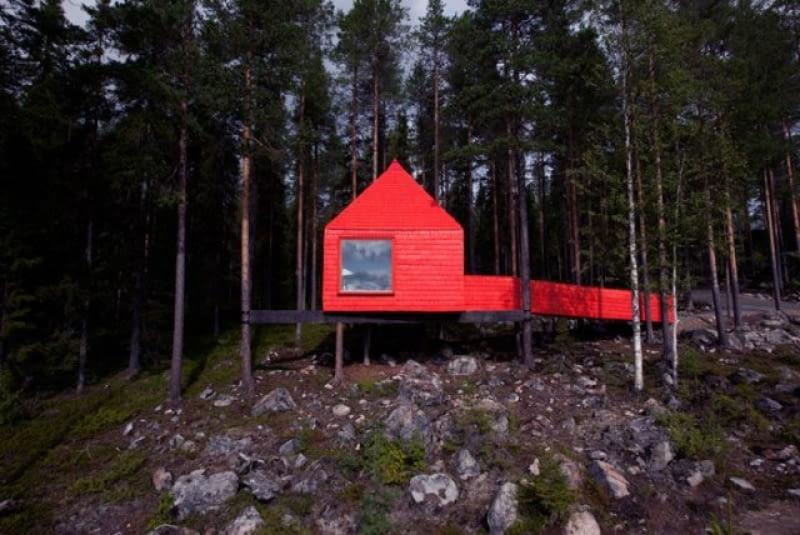 Treehotel- apartamenty na drzewach w północnej Szwecji.