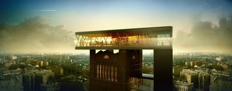 Widok na restaurację na wieży