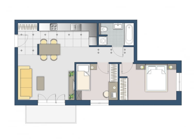 Plan mieszkania, projektowanie wnętrz
