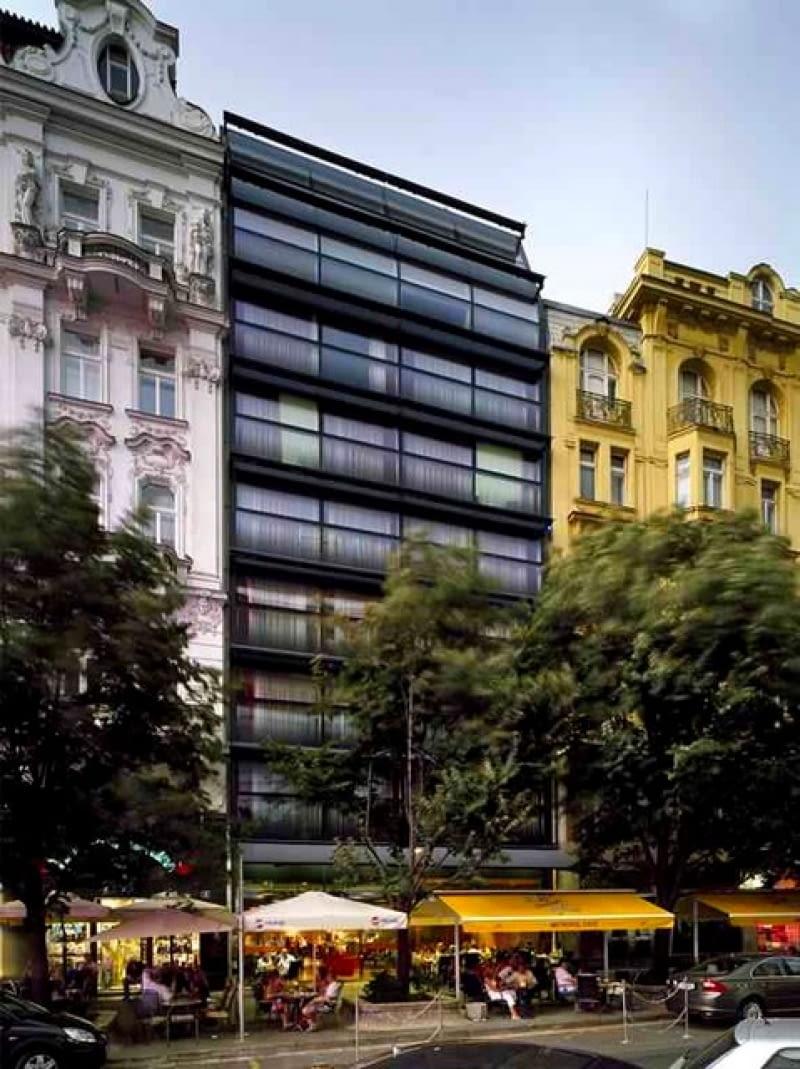 praga, szkło, hotel, czechy, budynek