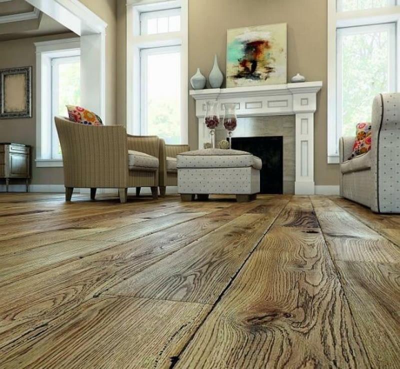 postarzane podłogi, podłogi drewniane, salon
