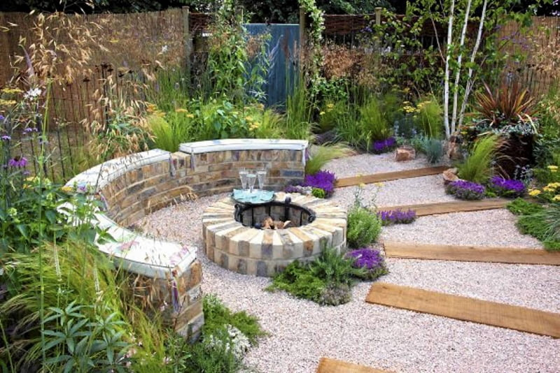 Brick built rustic fire pit, crushed recycled ceramic gravel path with sleepers - 'The Fire Pit Garden' - Silver Medal Winner at the RHS Hampton Court Flower Show 2010