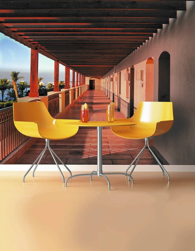 3D render scene of a modern coffee-shop table and chair in orange and yellow colors SLOWA KLUCZOWE: interior minimal minimalism minimalistic decorative decoration fashion design seat lamp wall floor inox in-ox home rest simplicity orange living-room background indoor coffer-shop table chair juice juice-fruit fruit refreshment cocktail yellow