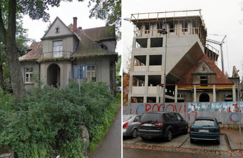 Z lewej: willa Monte w 2012 roku. Z prawej: przebudowa willi.