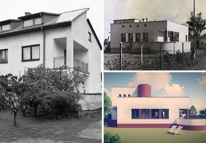 Dom w Milanówku. Z lewej: dom w latach 90./ prawy górny róg: dom w latach 50./ prawy dolny róg - projekt URBAA Urbański Architektura & Wnętrza