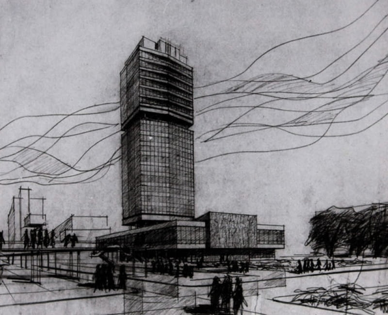 Tak pierwotnie miał wyglądać krakowski Szkieletor - projekt budynku NOT