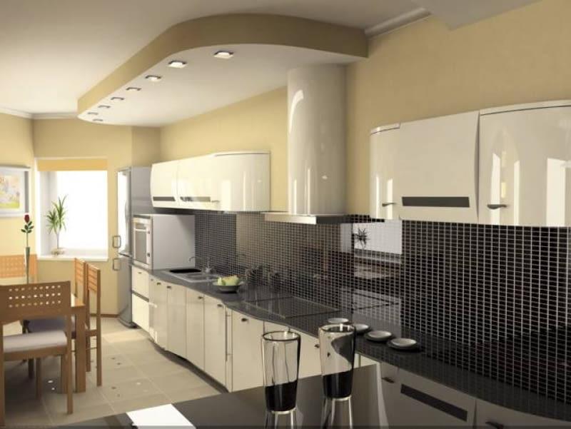 Sufit podwieszany w kuchni. Między stropem a sufitem można ukryć przewód łączący wyciąg kuchenny z pionem wentylacyjnym