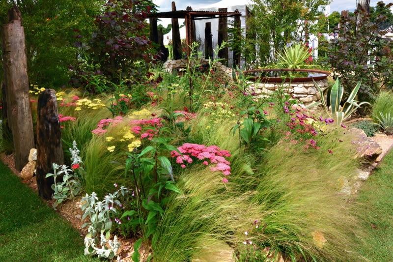 Ta prosta rabata z trawy ostnicy i krwawników nie wymaga uciążliwej opieki, a dynamizuje kompozycję ogródka.
