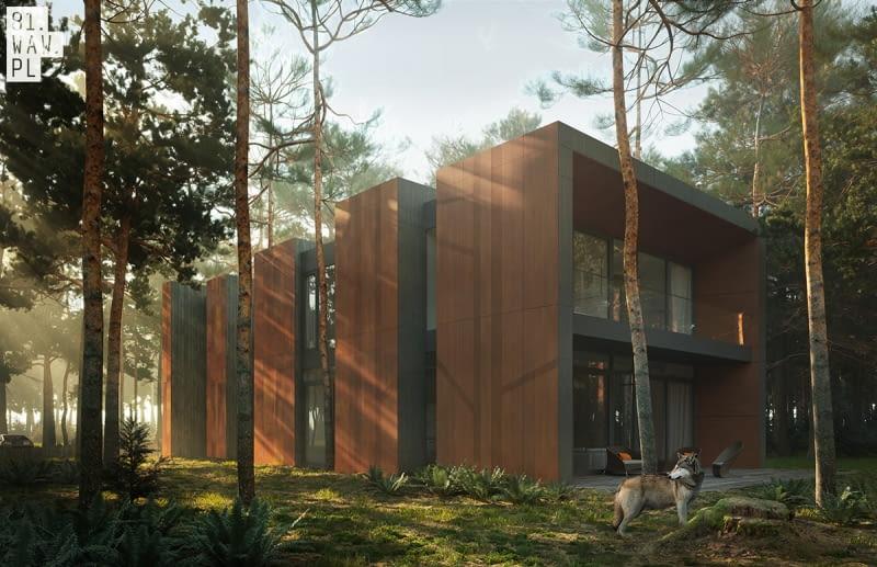 Nowoczesny dom w sosnowym lesie