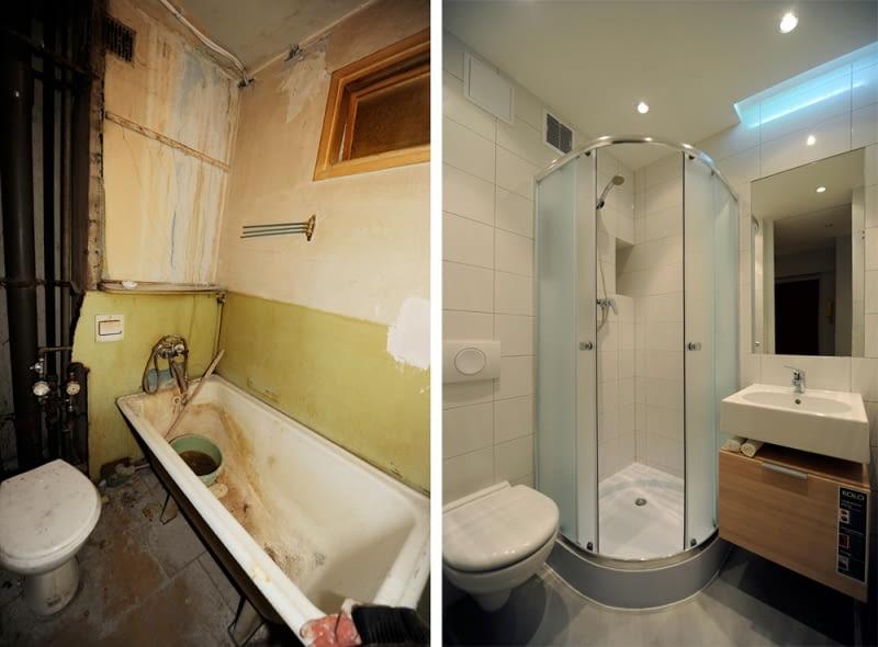 remont łazienki, mała łazienka, metamorfoza wnętrza