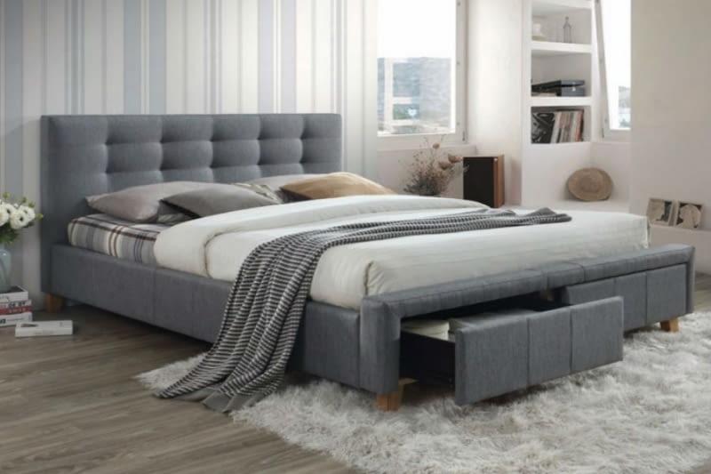 łóżko Idealne Do Sypialni Tapicerowane Drewniane