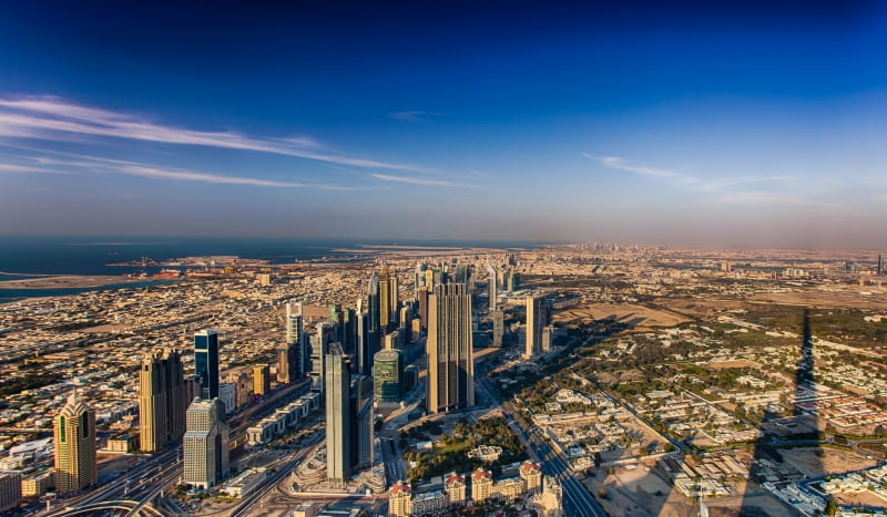 Panorama Dubaju z Burdż Chalifa
