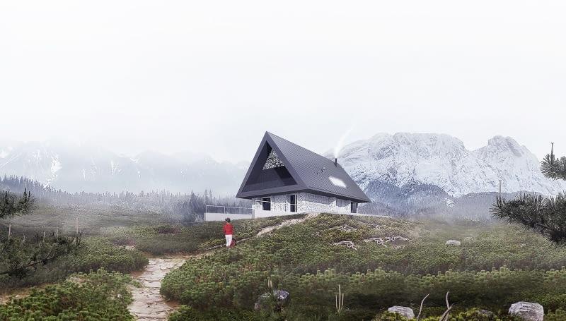 Dom z prywatnym Giewontem. Proj. BXBstudio