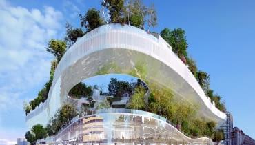 """Mille arbres, czyli Tysiąc drzew efekt współpracy Sou Fujimoto ifrancuskiej pracowni OXO Architectes. To projekt nowoczesnej architektury, która powstaje wodległej XVII dzielnicy Paryża. Praca zwyciężyła wkonkursie """"Réinventer Paris"""", który ma za zadanie zmienić oblicze mniej prestiżowych dzielnic francuskiej metropolii. Praca zachwyciła jury nowatorskim podejściem do natury wmieście."""