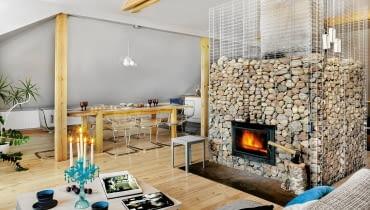 mieszkanie, wystrój wnętrz, kominek, salon z kominkiem