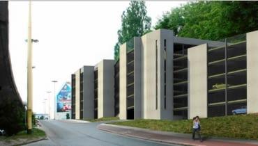 Koncepcja parkingowca przy Teatrze Kana w Szczecinie. Biuro Architektoniczne Rozwarski i Spławski