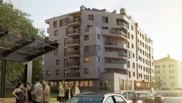 Wizualizacja budynku mieszkalnego przy ulicy Sandomierskiej w Kielcach, projekt: Tera Group