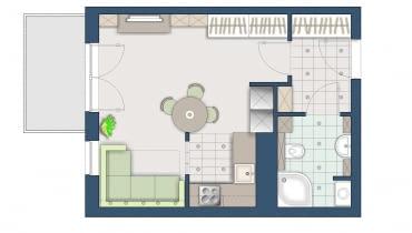 Plan mieszkania, kawalerka