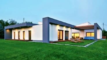 dom parterowy, dach płaski, dom jednorodzinny