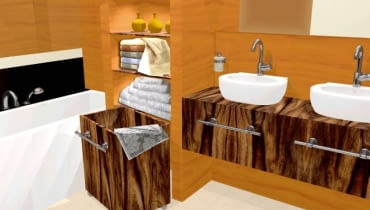 Półki, pojemnik oraz blat pod umywalkami są fornirowane palisandrem. Stalowe uchwyty zamontowane przy umywalkach (takie same jak w pojemniku) służą jako relingi na ręczniki.