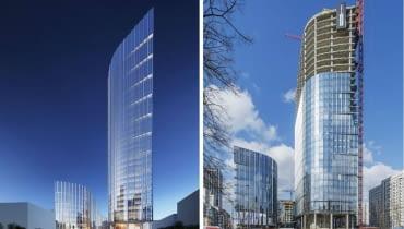 Mennica Legacy Tower obcenie ( z prawej) i na wizualizacji (z lewej).