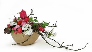 Nareszcie przyszła, zachwycając barwami roślin w ogrodzie, na łące i w sadzie. Nie wracajmy z wycieczek z pustymi rękami. Przyniesione do domu kwiaty ułóżmy pięknie w wazonach, misach, wazach. <BR />Szczypta egzotyki: tulipany, stokrotki, kwitnąca wiśnia i porzeczka krwista, liście galaksu, a do tego - nieulistnione jeszcze gałązki. Swojskie rośliny, rosnące w naszych ogrodach i sadach, a aranżacja prawie w japońskim stylu.