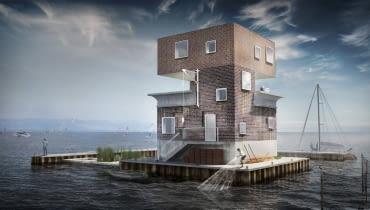 Rozbudowa budowli w zatoce Puckiej na cele mieszkalne - wizualizacja